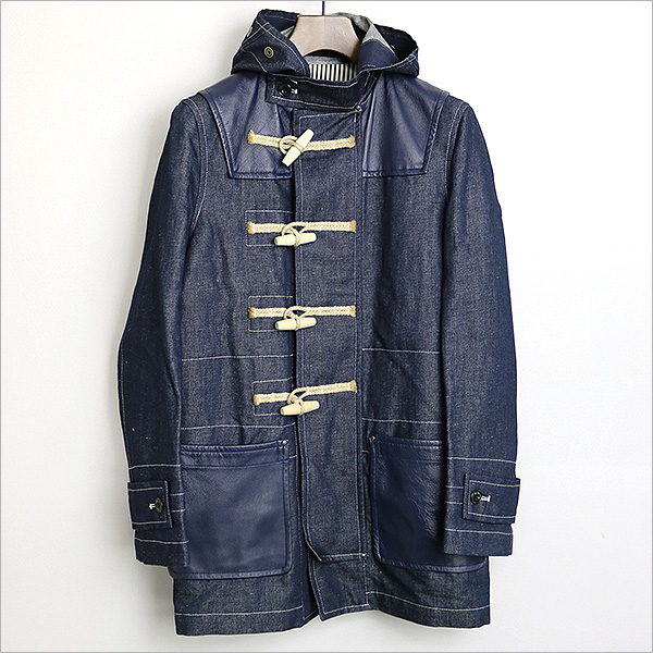 COMME des GARCONS HOMME ×gloverall 14SS レザーヨークデニムダッフルコート
