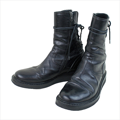 10AW ANN DEMEULEMEESTER Back Lace Up Side Zip Boots
