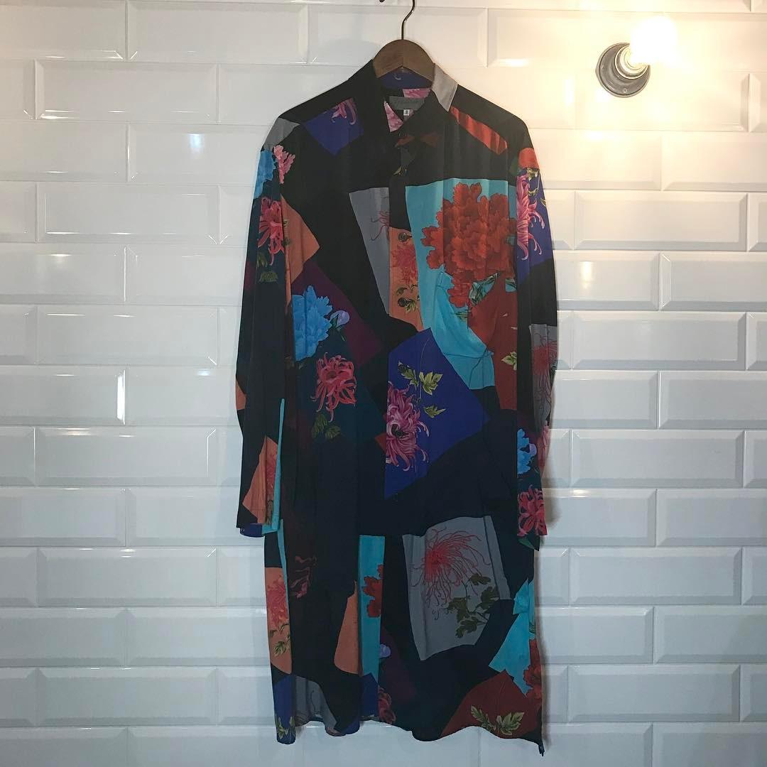 Yohji Yamamoto POUR HOMME 16SS 阪急限定 花と少年 フラワーコラージュレーヨンロングシャツ