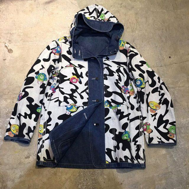 ISSEY MIYAKE× KaiKai Kiki 00SS『ポジきのこ』リバーシブルフードデニムカバーオールジャケット