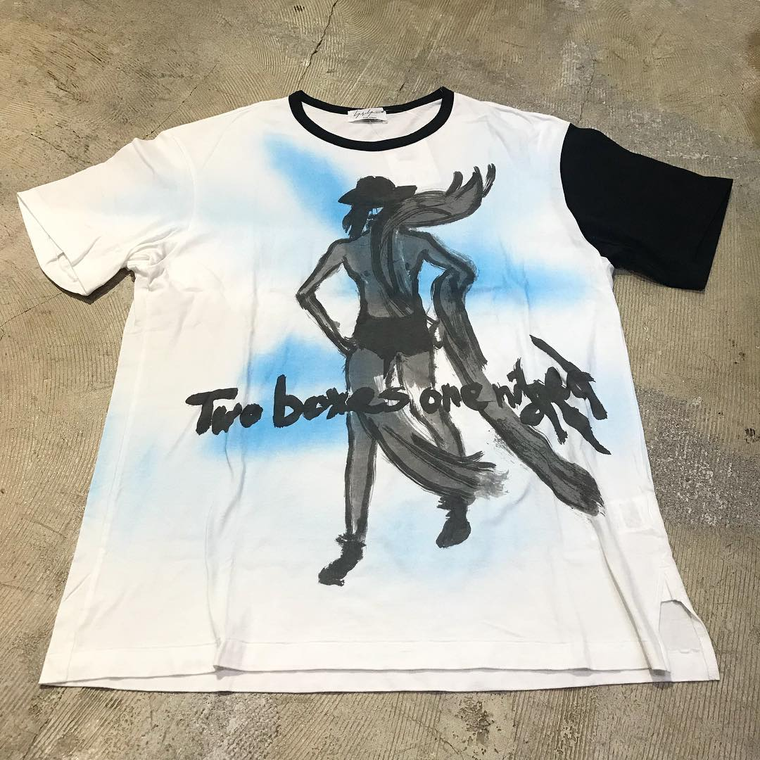 Yohji Yamamoto POUR HOMME 16SS 「Two bucks one night」顔料プリントTシャツ