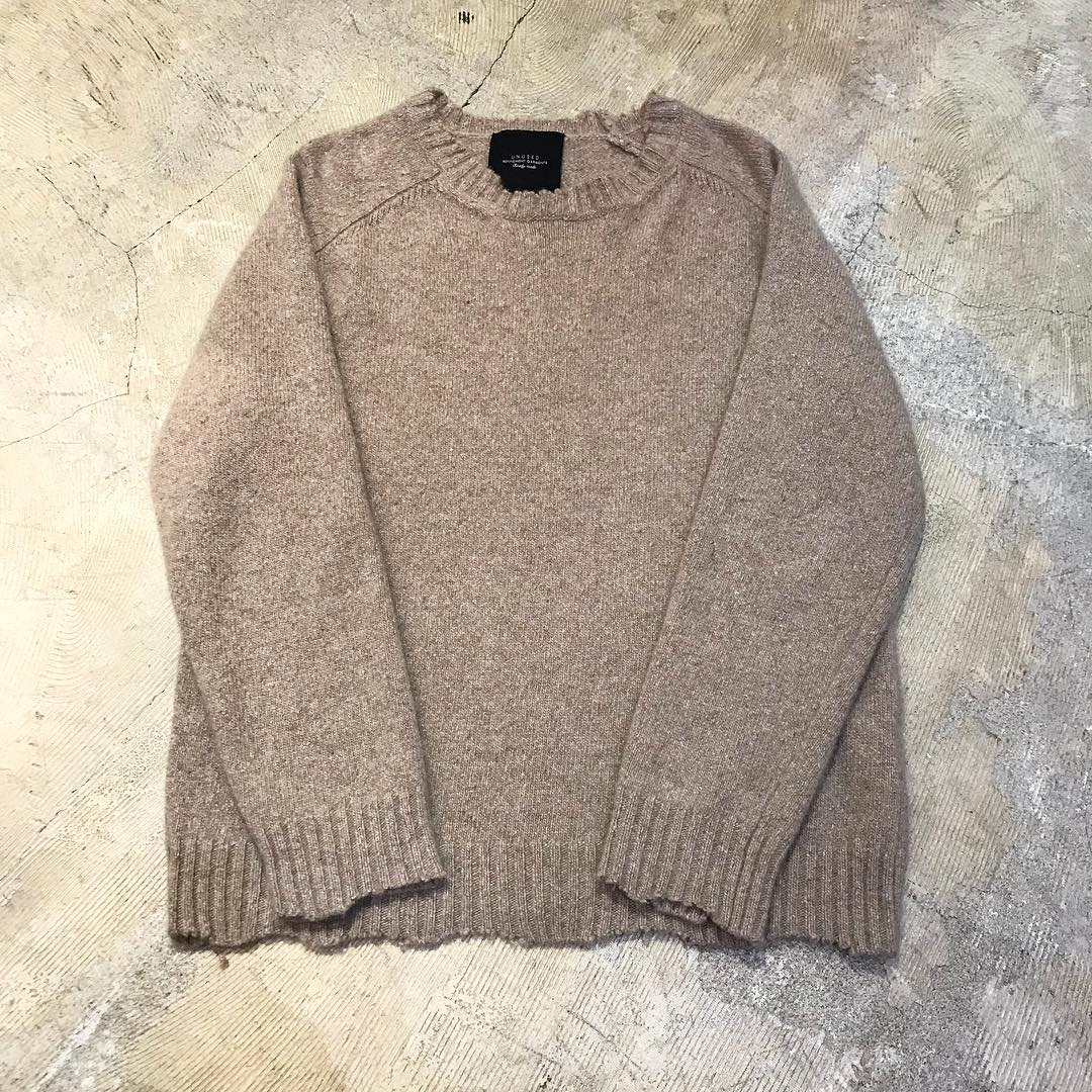 UNUSED 17AW Damage Cashmere Knit