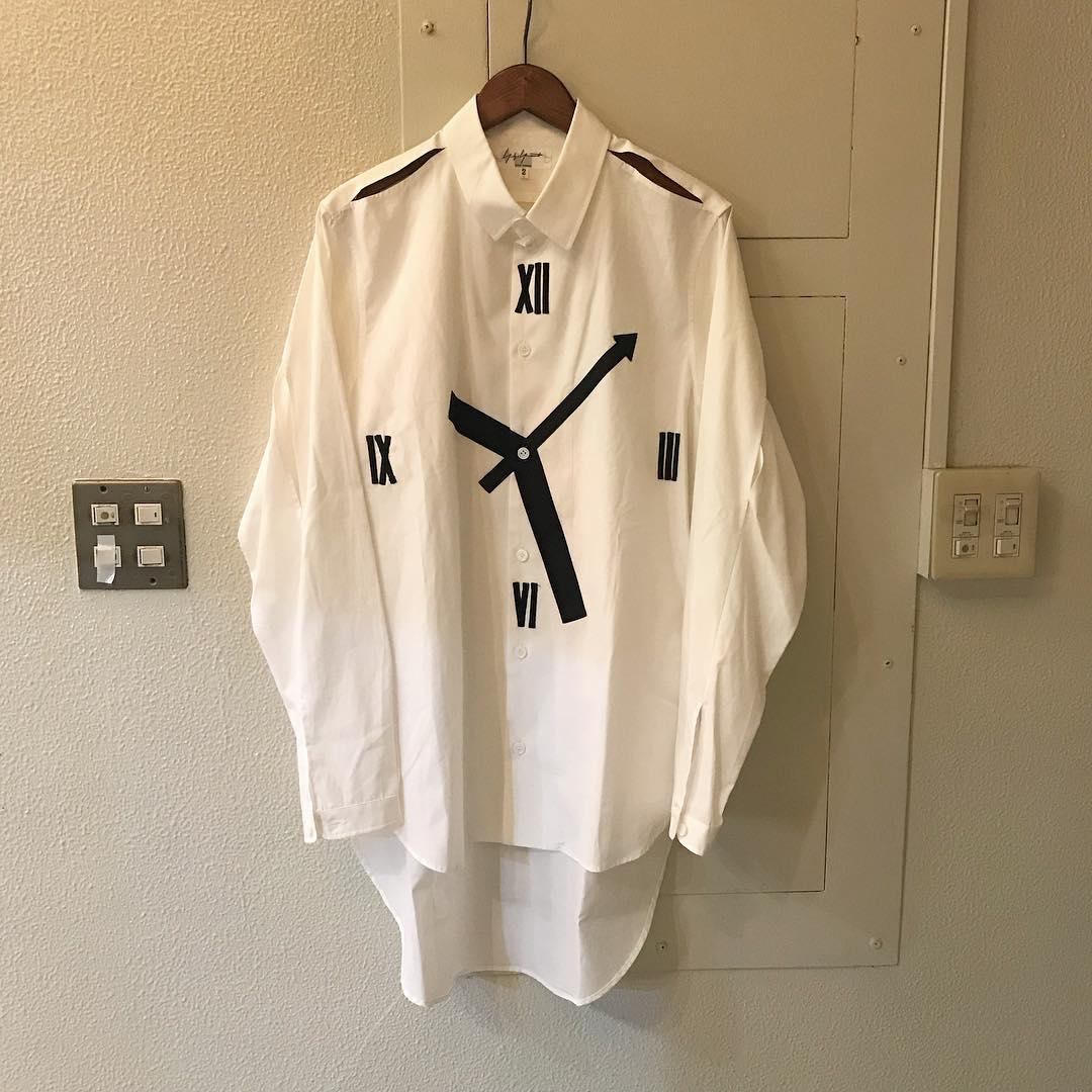Yohji Yamamoto POUR HOMME 14SS 時計柄コットンブロードロングシャツ