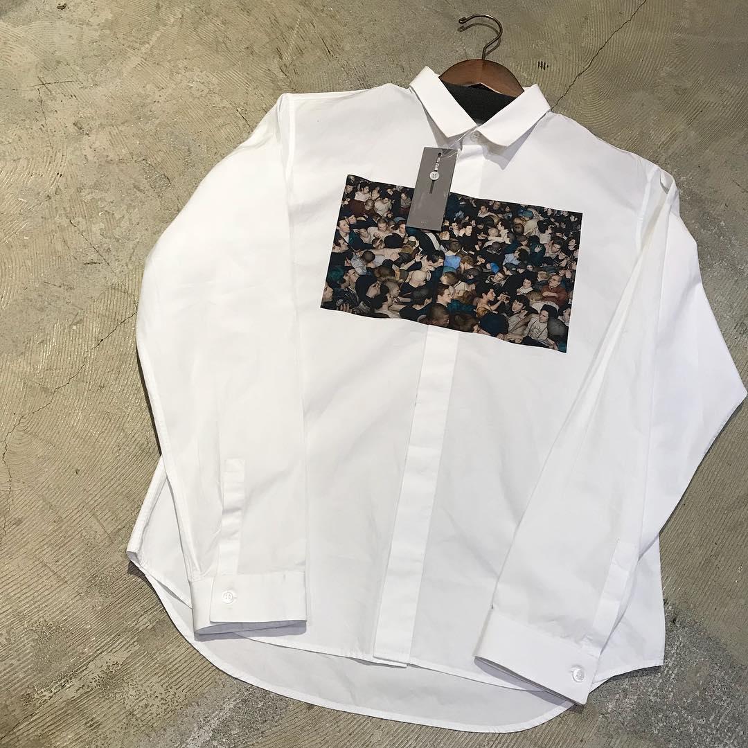 Dior HOMME ×Dan Witz 17AW モッシュピットグラフィックプリントコットンブロードシャツ