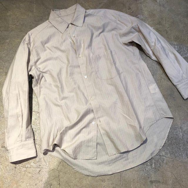 URU 18SS コットンシルクストライプスタンダードシャツ