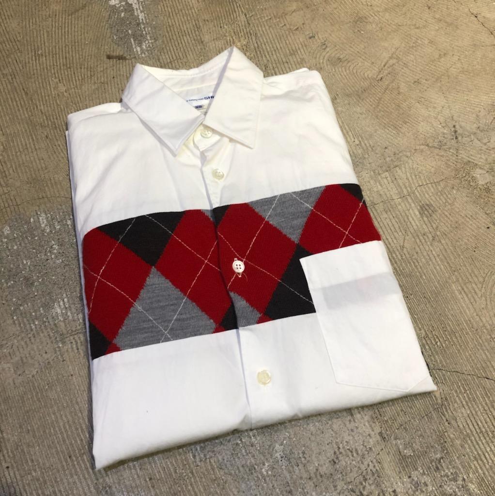 COMME des GARCONS SHIRT 10SS ニットコンビネーションブロードシャツ