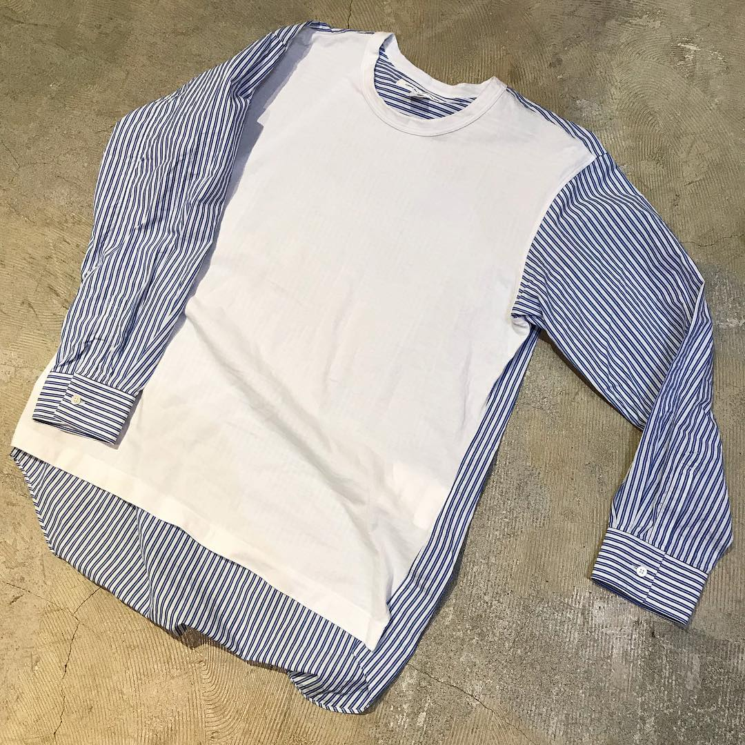 COMME des GARCON SHIRT 19SS コットンジャージー切替ストライプシャツ