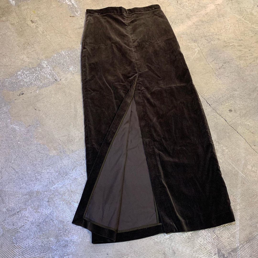 AURALEE 17AW WASHED CORDUROY SLIT LONG SKIRT