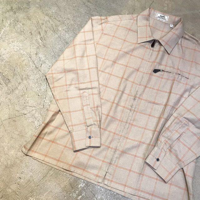 HERMES カシミヤ混プラッドチェックジップアップシャツジャケット