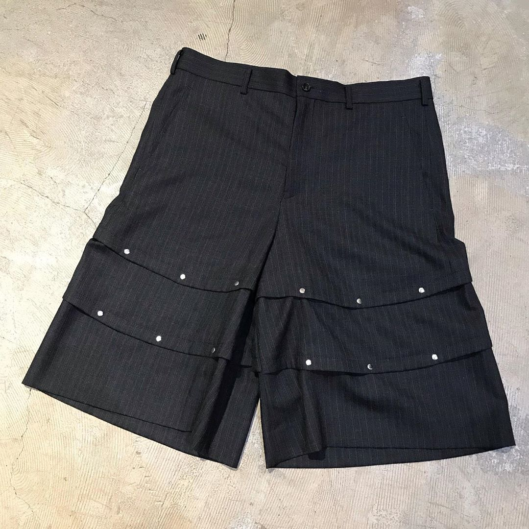 COMME des GARCONS HOMME PLUS 16AW カシメ甲冑ワイドショートパンツ