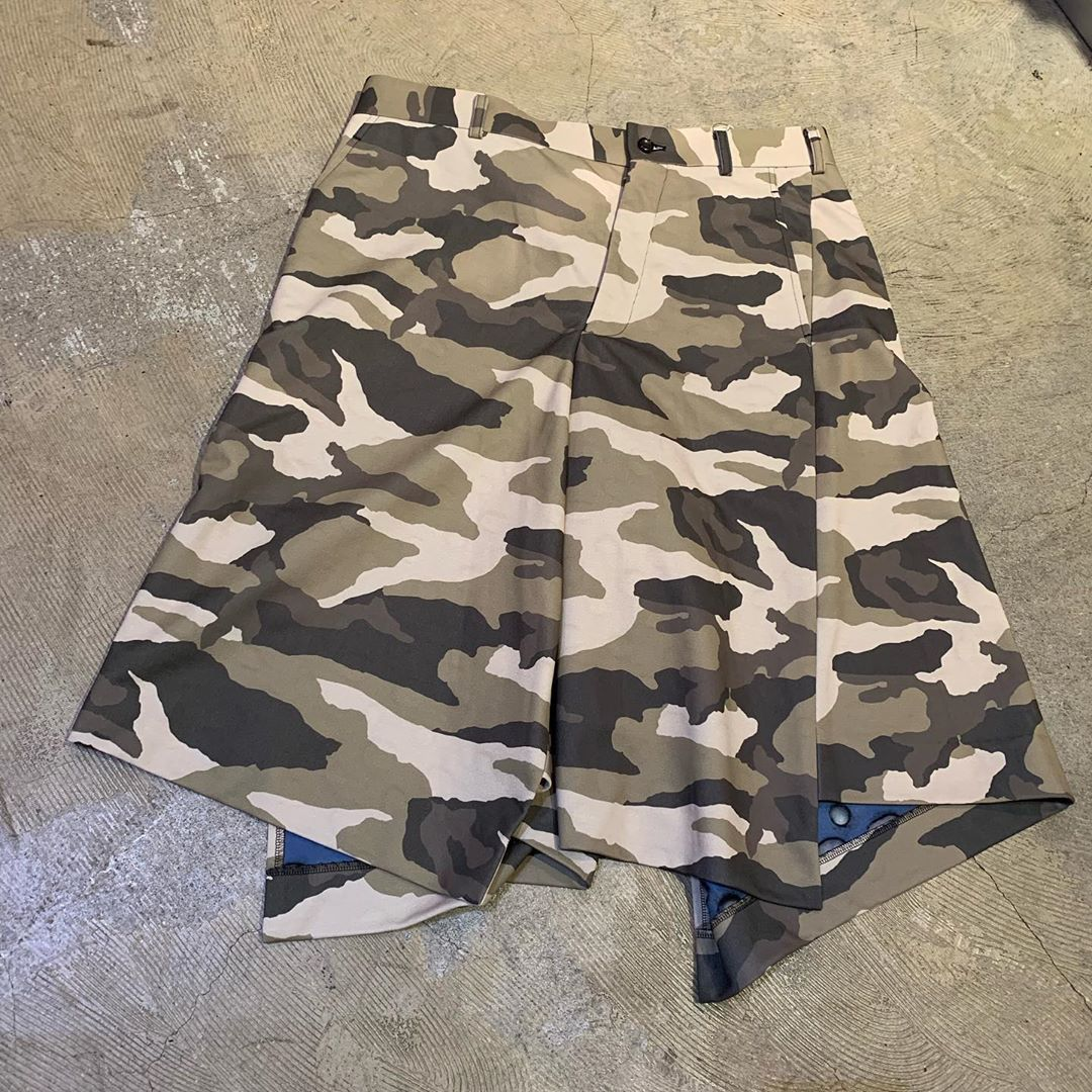 COMME des GARÇONS HOMME PLUS 18AW カモフラージュ柄ワイドショートパンツ
