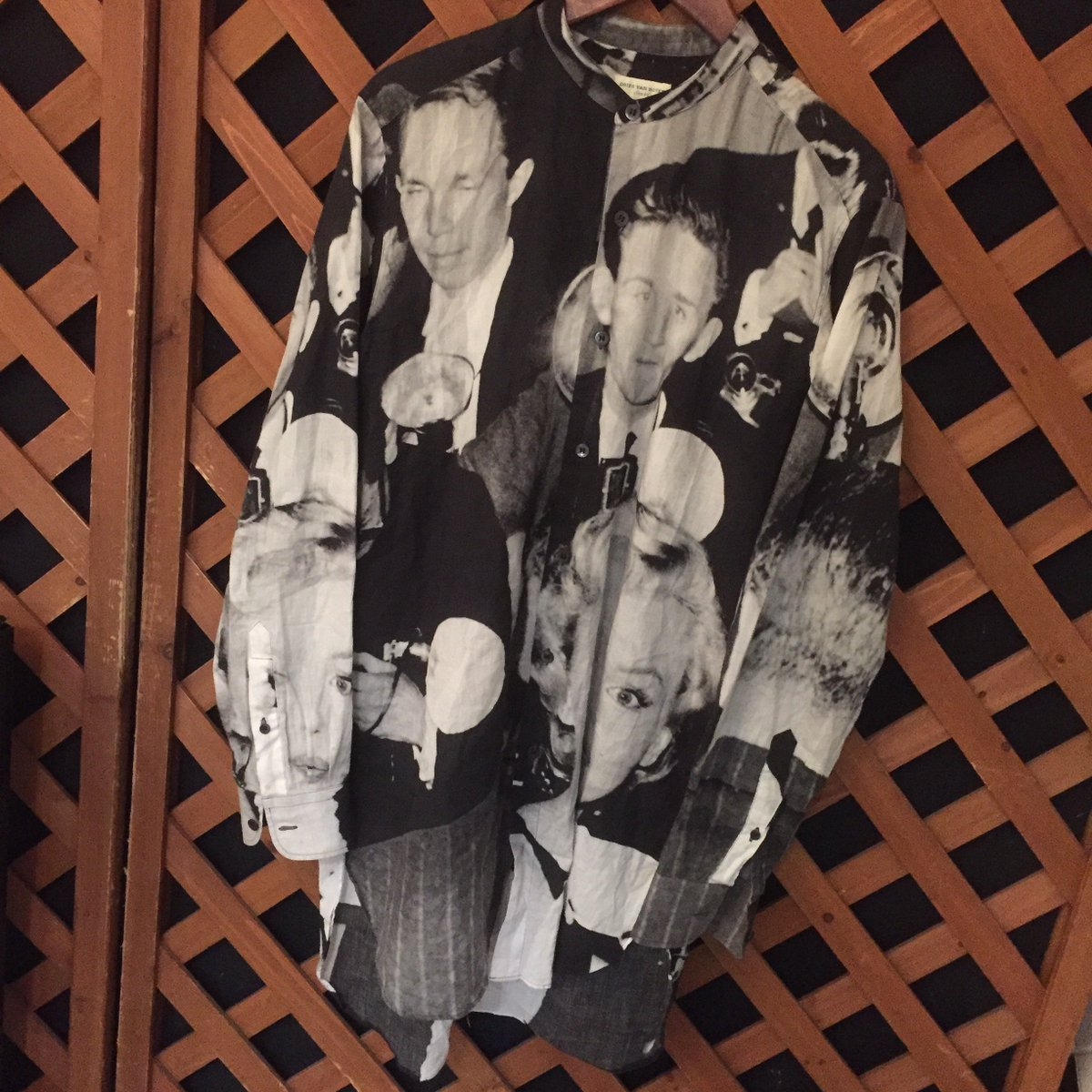 DRIES VAN NOTEN 16SS マリリンモンロープリントバンドカラーシャツ
