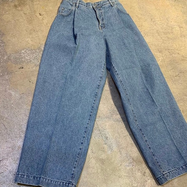 NEON SIGN WIDE DENIM SLACKS 'USED'