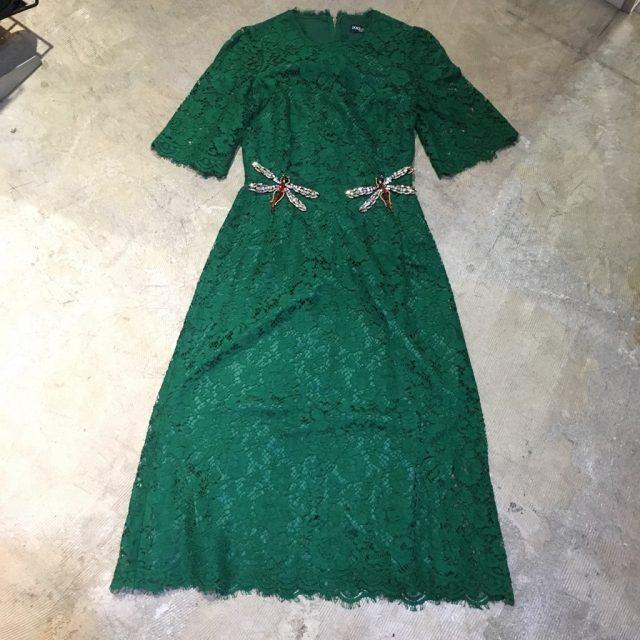 DOLCE&GABBANA 16AW ビジュードラゴンフライフルレースドレス