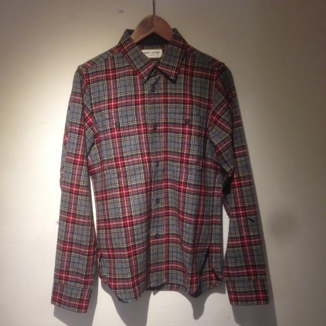 SAINT LAURENT PARIS 13AW チェック柄ウールネルシャツ