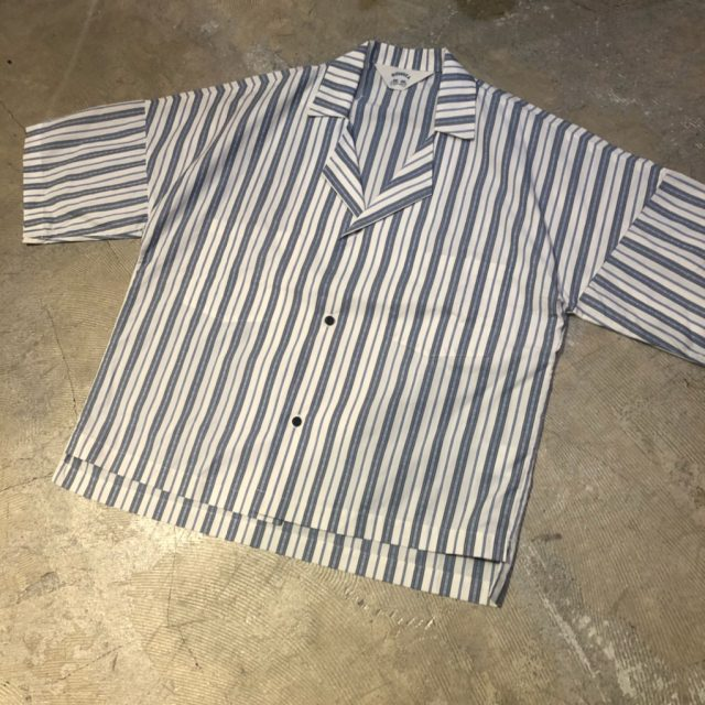 SUNSEA 18SS BLUE NOTE STRIPE FRIED SHRIMP SHIRT