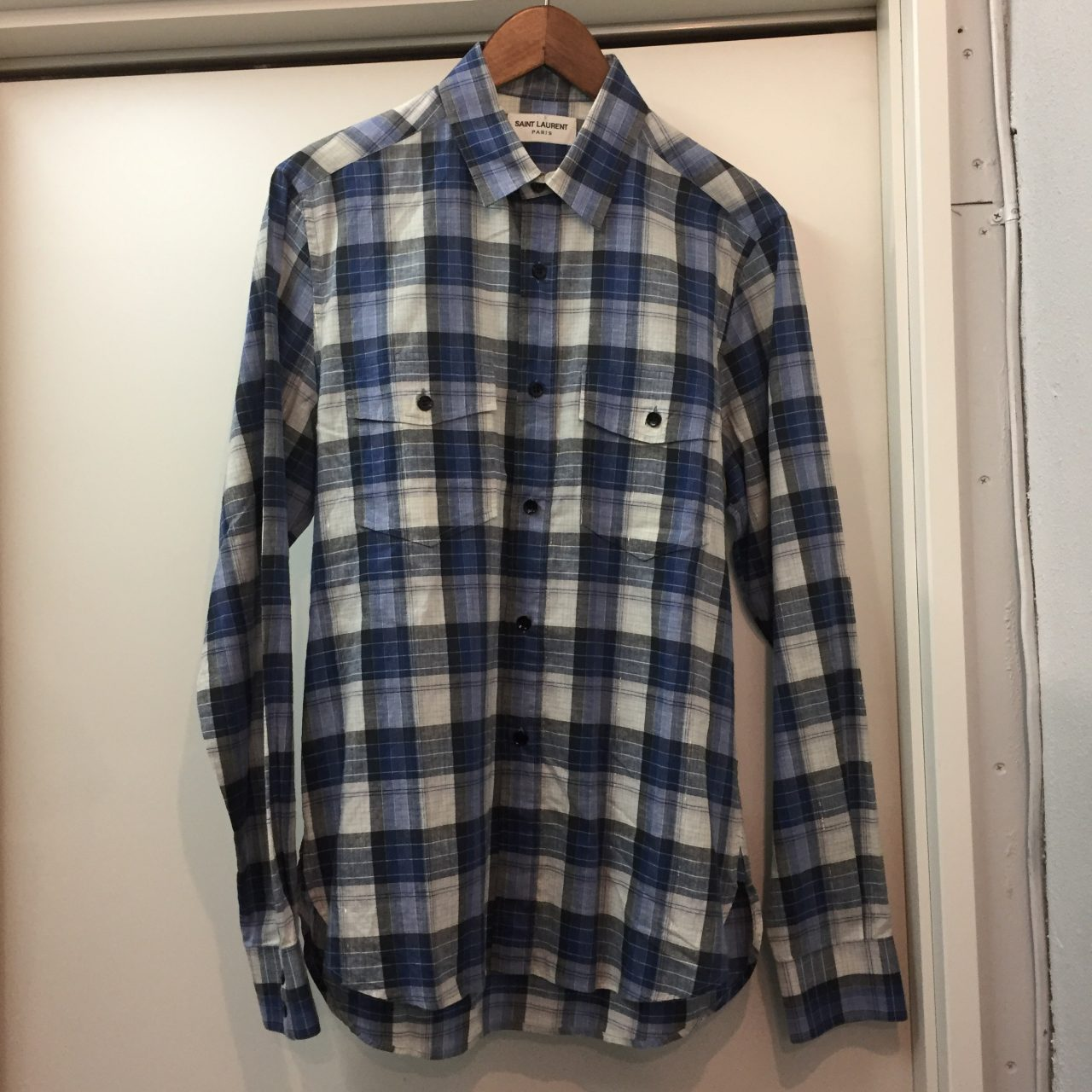 SAINT LAURENT PARIS 15SS 金糸チェック柄ポケットシャツ