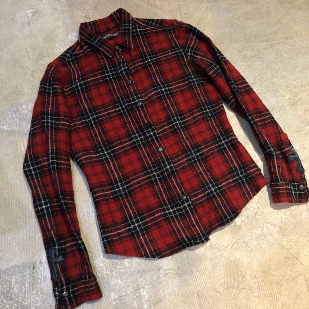 CHROME HEARTS フローラルクロスボタンボイルドウールチェックシャツ