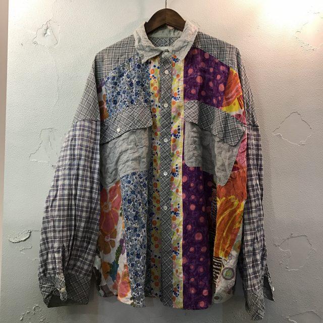 NOZOMI ISHIGURO マルチパターンパッチワーク箔プリントオーバーサイズシャツ