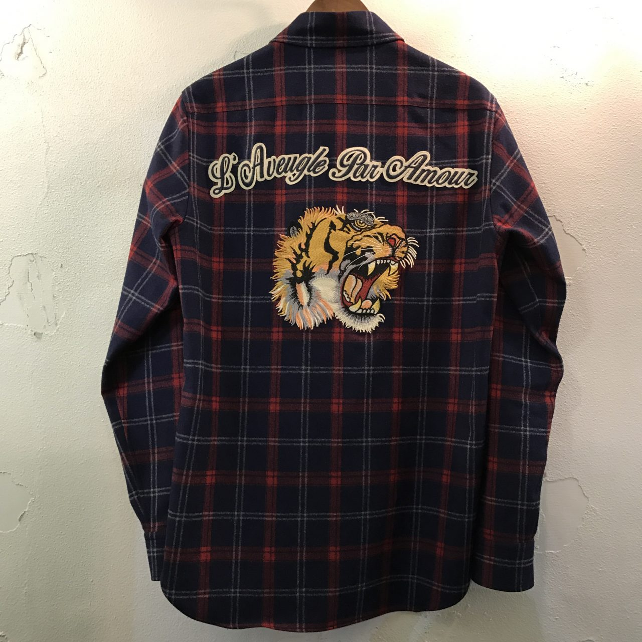 GUCCI 16AW タイガーパッチチェックネルシャツ 38