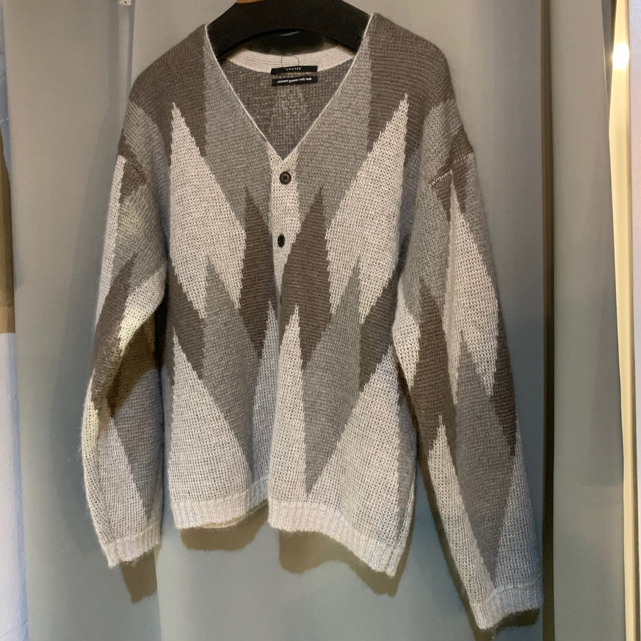 UNUSED 19AW 5G ARGYLE KNIT CARDIGAN