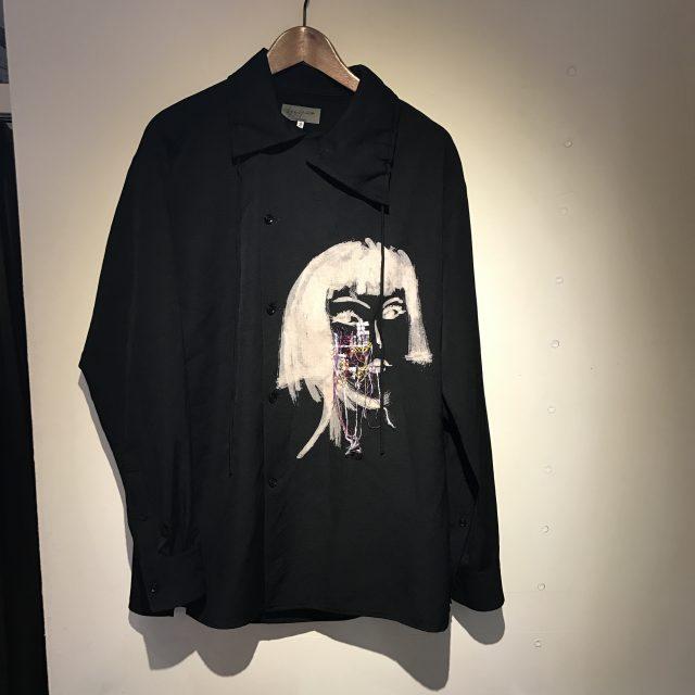 Yohji Yamamoto POUR HOMME 16AW ウールギャバ 抜染PT刺繍セミWシャツ