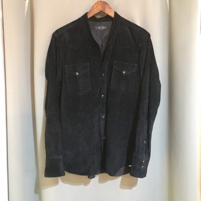 15SS UNUSED COW SUEDE WESTERN SHIRT
