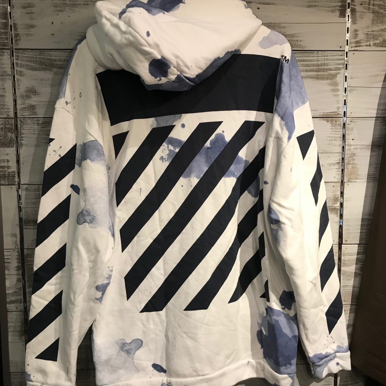 OFF WHITE 16AW BLUE LIQUID SPOTS HOODIE