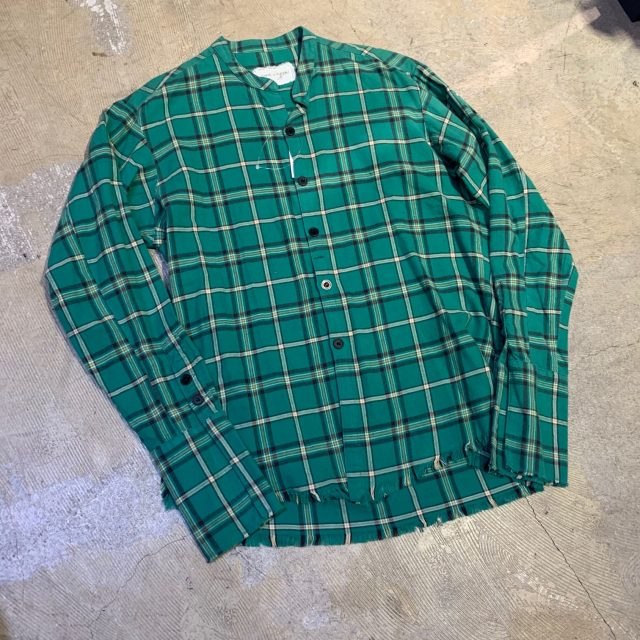 GREG LAUREN 19AW Green Plaid Studio Shirt